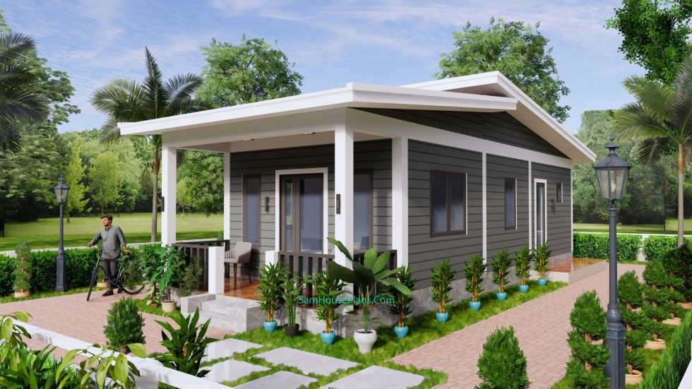 4.5x12 Small House Design 2 Bedrooms Shed Roof 3
