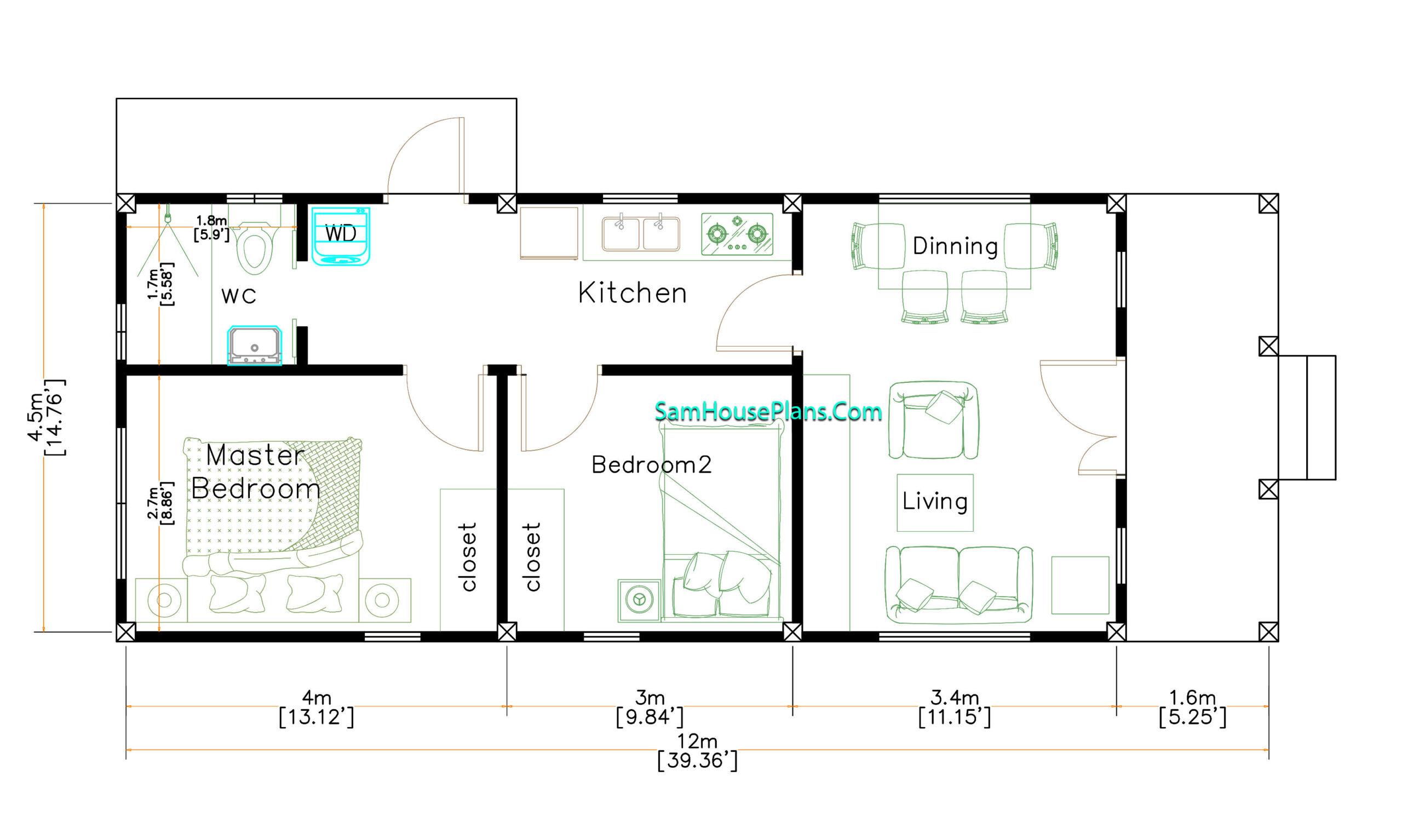 Small House Design 4.5x12 Meters 2 Beds Hip Roof Floor plan