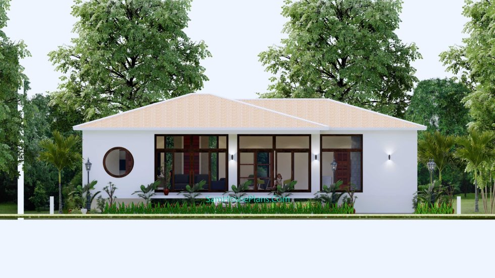 House Design Plan 17x13 with 3 Bedrooms 53x43 Feet Back view