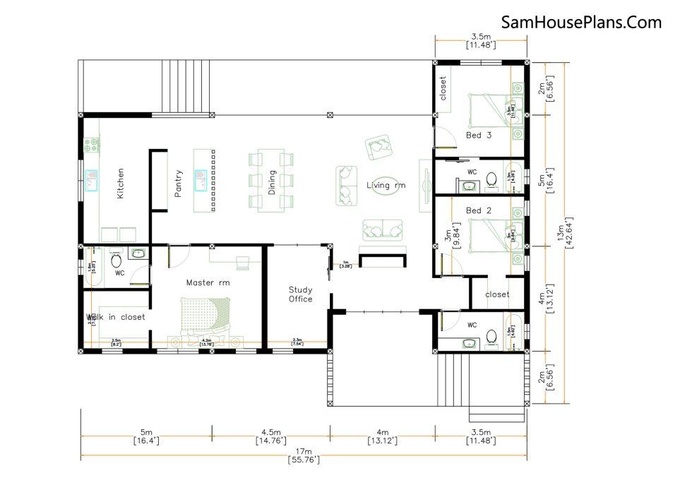 House Design Plan 17x13 with 3 Bedrooms 53x43 Feet floor plan