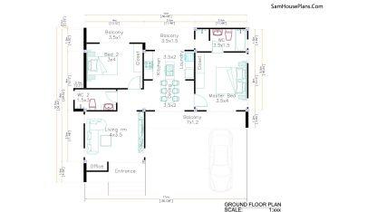 House Design Plans 11x10.5 Hip Roof 2 Bedrooms floor plan