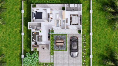 Modern House Design Plan 11x9 meter 3 Bedrooms Top view