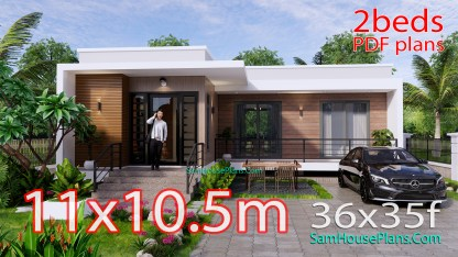 Modern House Plans 11x10.5 Flat Roof 2 Bedrooms