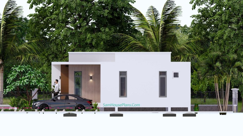 Modern House Plans 11x10.5 Flat Roof Right elevation
