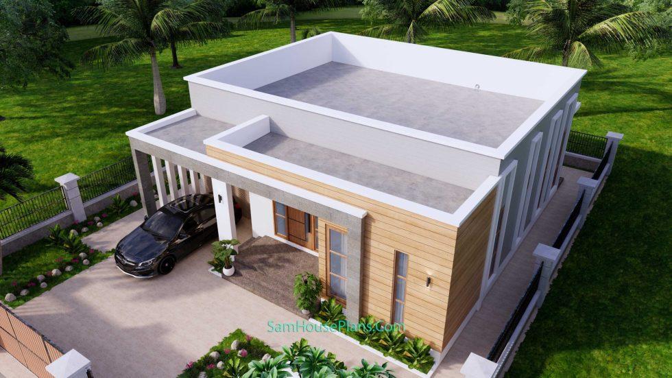 House Design Plans 11x11 meter 3 Bedrooms Front 3d 4