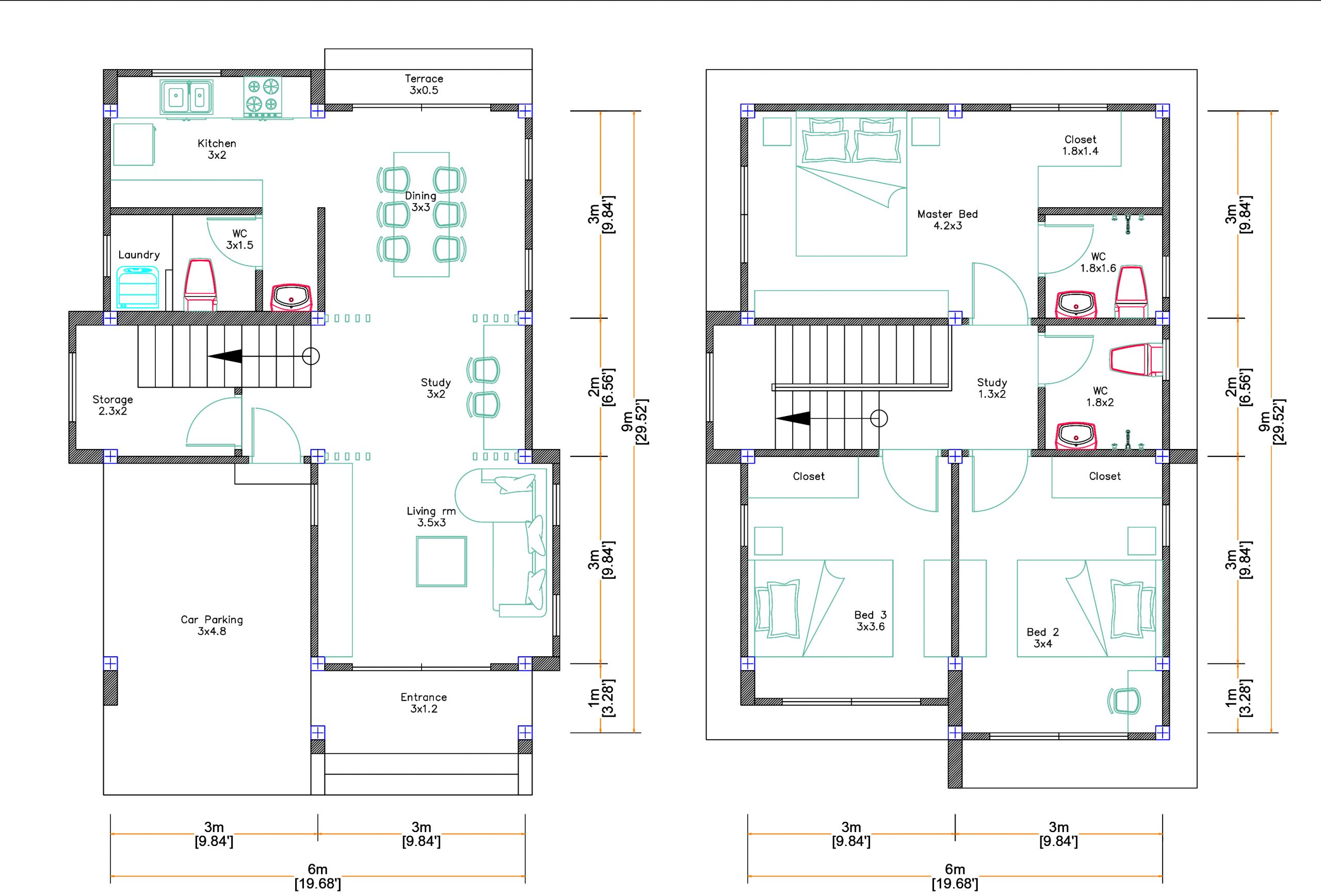 Small House Design 6x9 M with 3 Bedrooms 3d