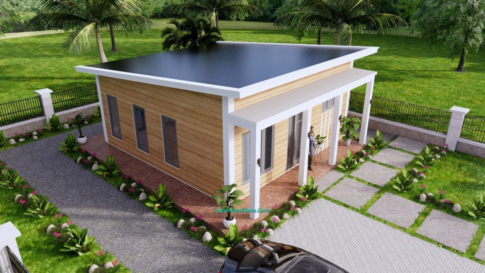 7x8M Small House Design One Bedroom Free Plans 3d 4