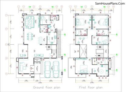 House Design Plan 11x15 Meter 5 Bedrooms Layout floor plan