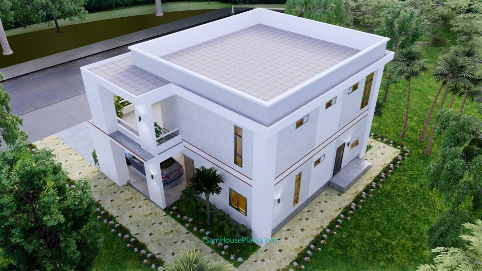House design 12x11 M with 4 Bedrooms Pdf Full Plan back top view