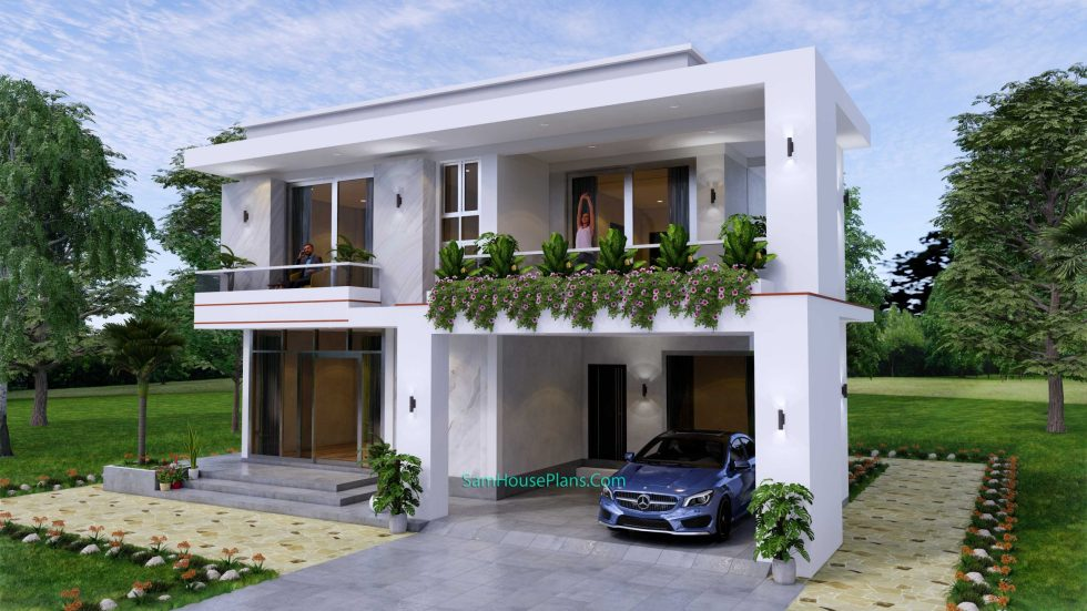 House design 12x11 M with 4 Bedrooms Pdf Full Plan front view 3