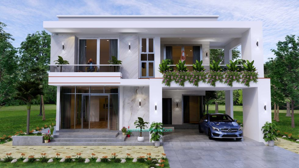 House design 12x11 M with 4 Bedrooms Pdf Full Plan front view