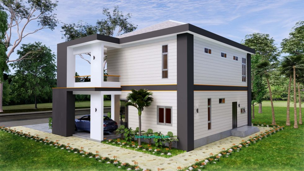 House design plans 12x11 m with 4 Bedrooms Pdf Full Plan Back view 2