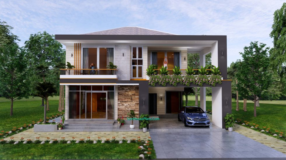 House design plans 12x11 m with 4 Bedrooms Pdf Full Plan Front view 1