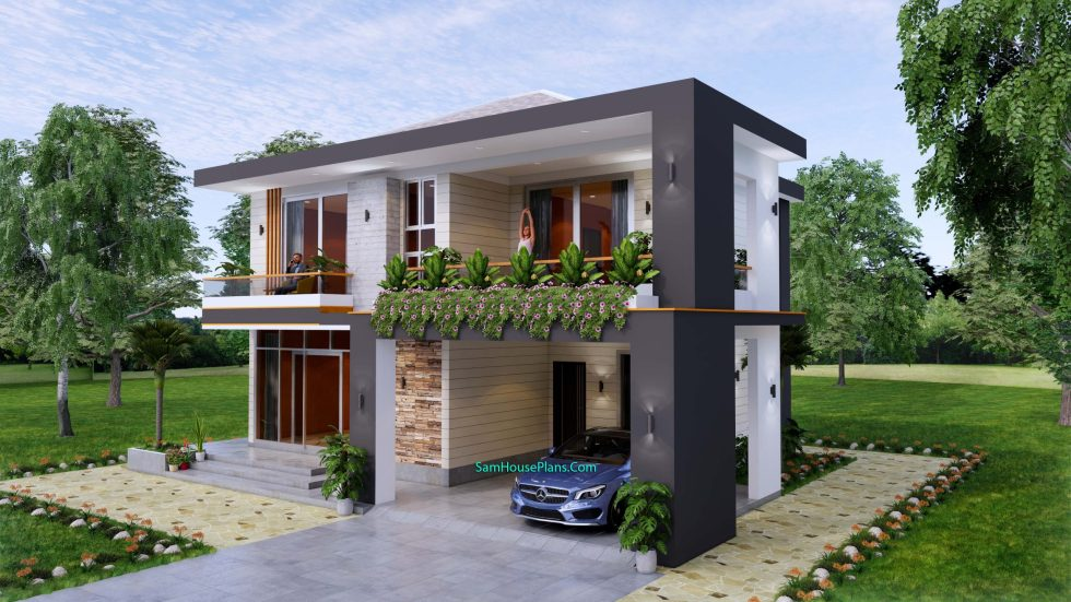 House design plans 12x11 m with 4 Bedrooms Pdf Full Plan Front view 3