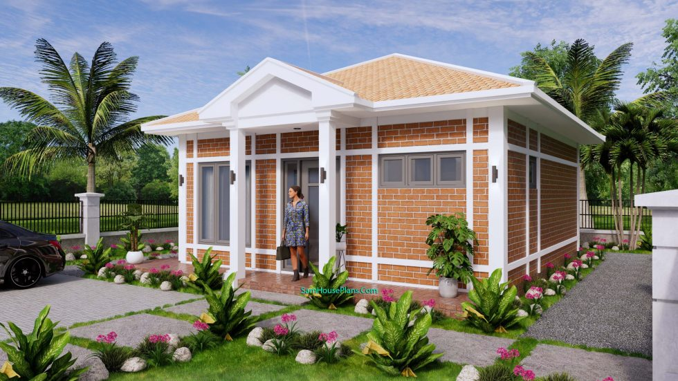 Small House Design 7x7M with One Beds Full Layout 3