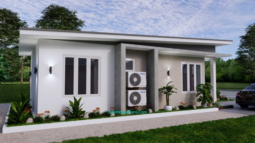 Small House Plan 4.5x9 Meter One Bedroom PDF Plan left 3d
