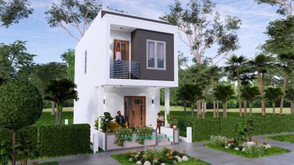 Small House Plan 4x7 M 3d front 1