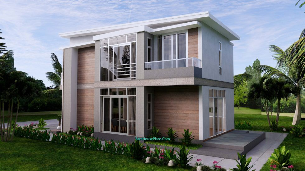 Small House Plan 6.7x10.8 meter 2 Beds PDF Full Plans Back 3d 5