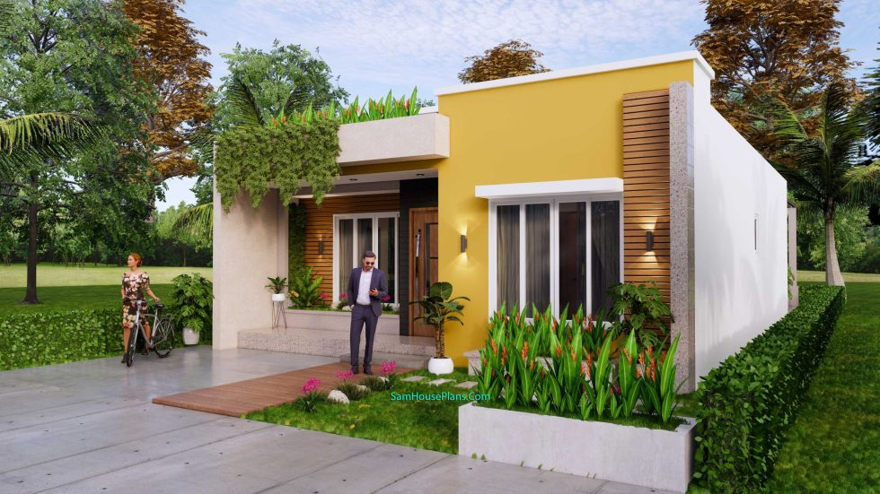 Small House Plan 8x12 M with 2 Bedrooms PDF Full Plans Front 3d 4