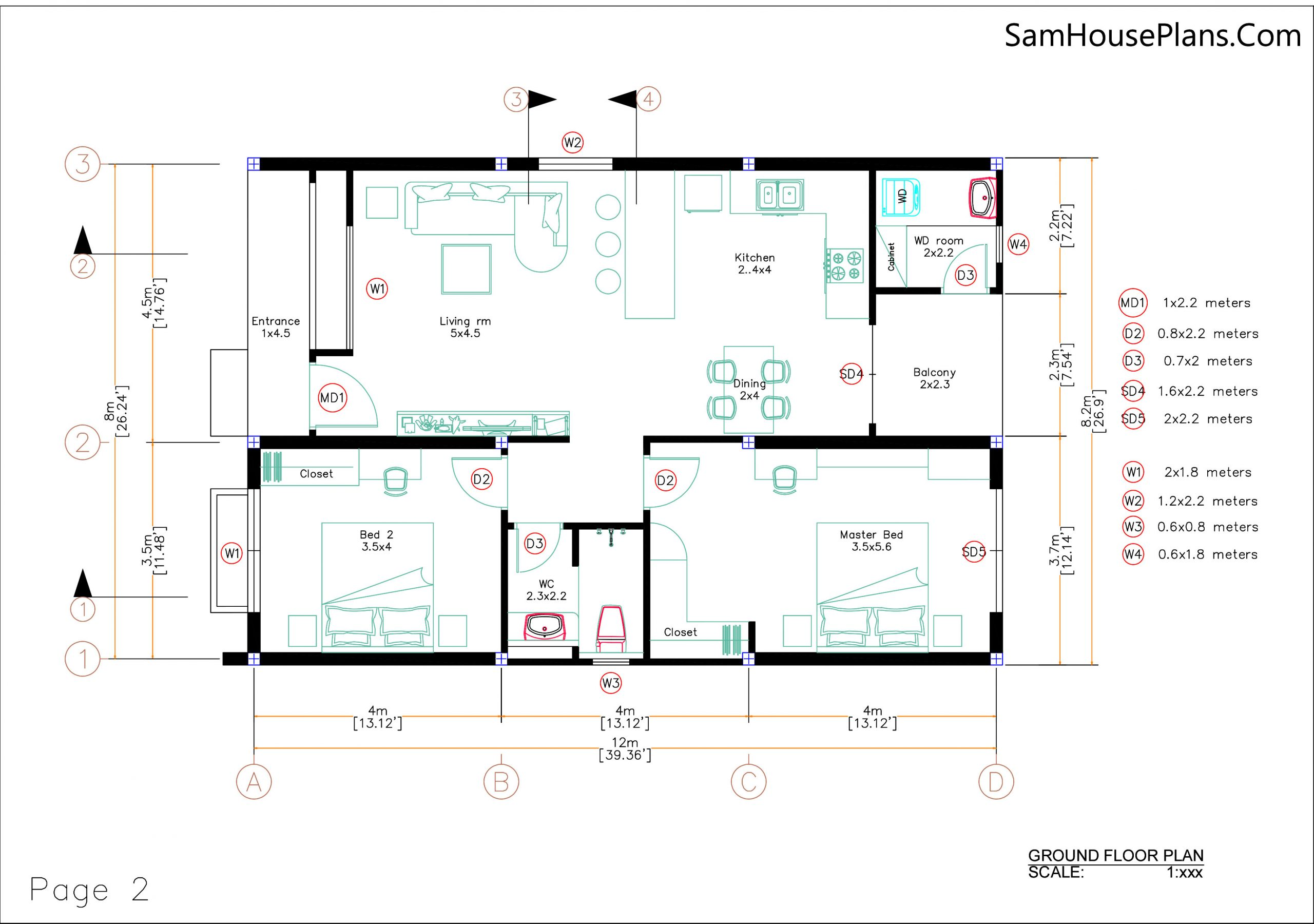 Small House Plan 8x12 M with 2 Bedrooms PDF Full Plans layout plan