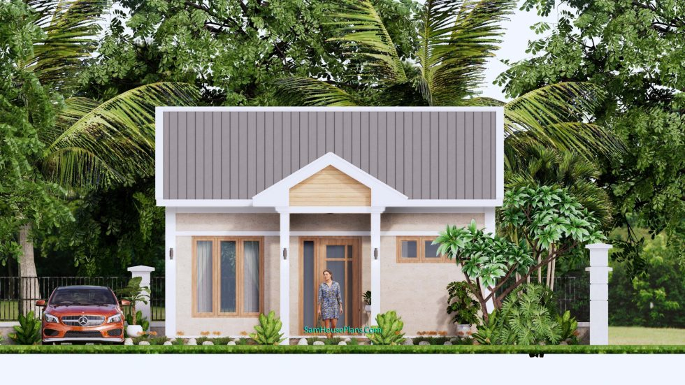 Tiny House Plans 7x7m One Bedrooms Full Pdf Free Plans 3d Elevation front