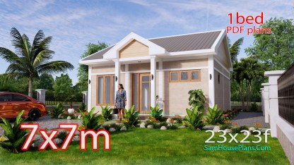 Tiny House Plans 7x7m One Bedrooms Full Pdf Free Plans