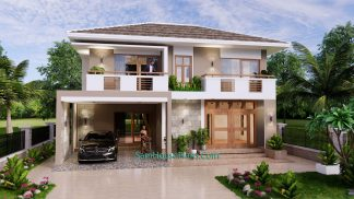 House Design Plan 11.5x9 Meter with 3 Beds Full PDF Plan Front 3d