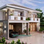 House Design Plan 11.5x9 Meter with 3 Beds Full PDF Plan Front Left 3d