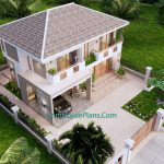 House Design Plan 11.5x9 Meter with 3 Beds Full PDF Plan Front Left Roof 3d