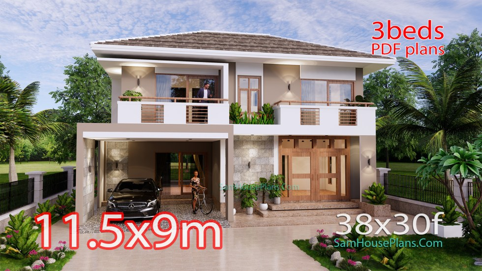 House Design Plan 11.5x9 Meter with 3 Beds Full PDF Plan