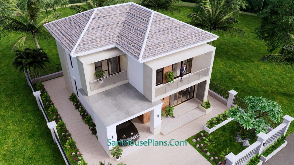 House Design Plan 9.5x11 M with 3 Bedrooms PDF Full Plans Top 3d 1
