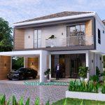 House Plans 9.5x11 Meter 3 Bedrooms Full PDF Plan Front 3d 0