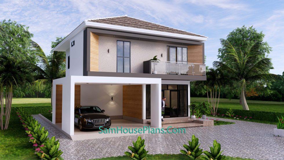 House Plans 9.5x11 Meter 3 Bedrooms Full PDF Plan Front 3d 1