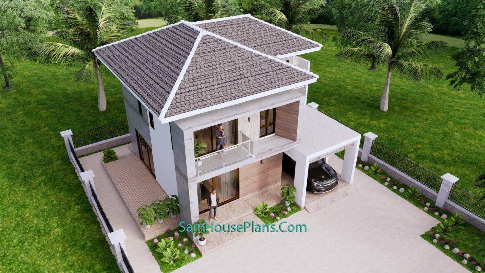 Small House Design 9x9.5 Meter 3 Bedrooms Full PDF Plan Top 3d view 2