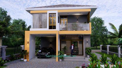 Small House Plan 7.5x9 Meter 3 Bedrooms PDF Full Plans 3d 1