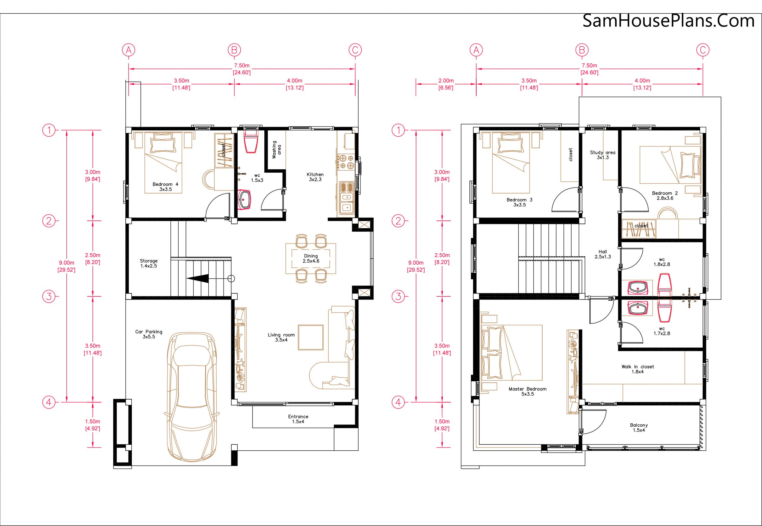 Small House Plan 7.5x9 Meter 3 Bedrooms PDF Full Plans 3d Layout plan