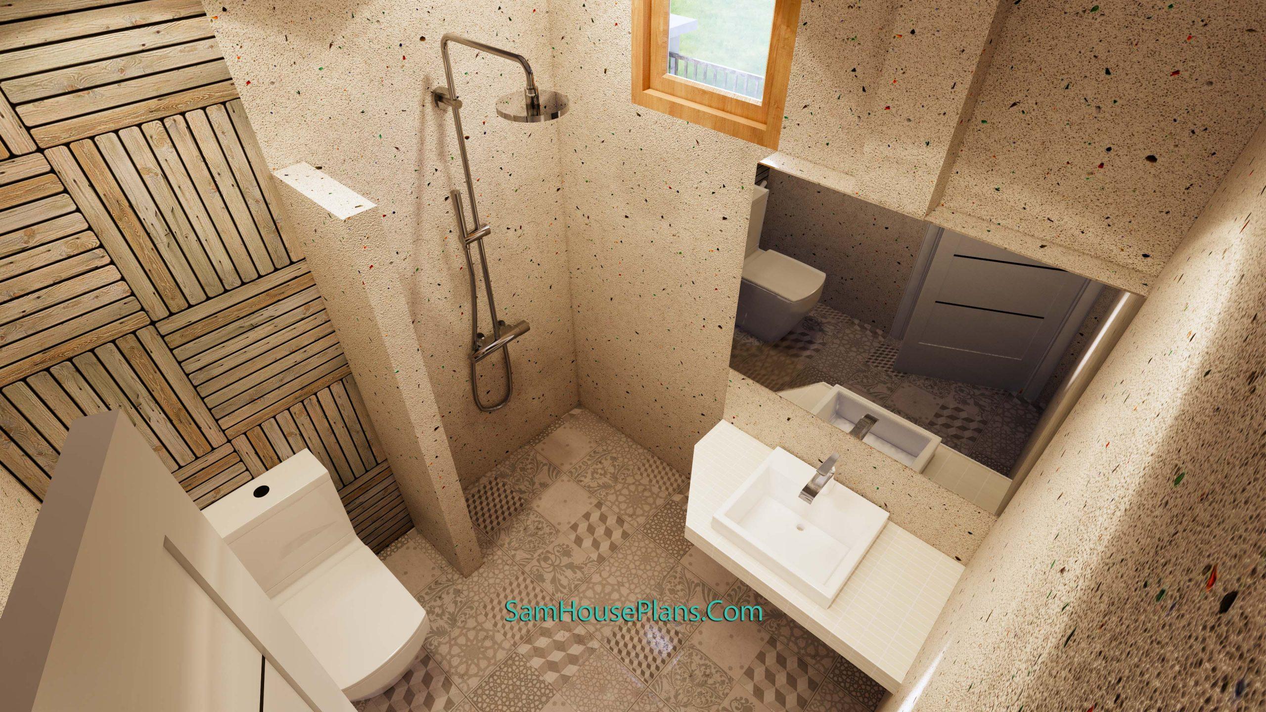 Bathroom 2 Modern House Plan 11x11 Meter 36x36 Feet 3 Beds PDF Plan 3d
