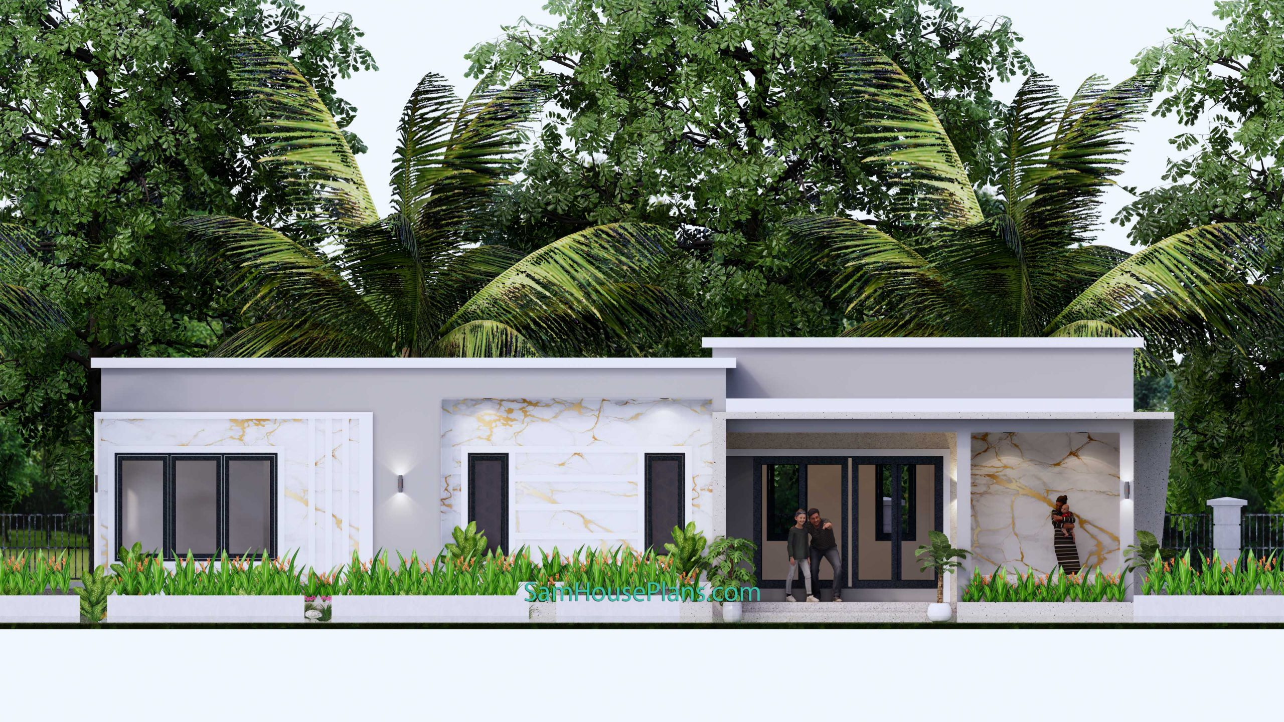 Front elevation Modern House Design 15x9 M 49x30 Feet 3 Beds PDF Plan