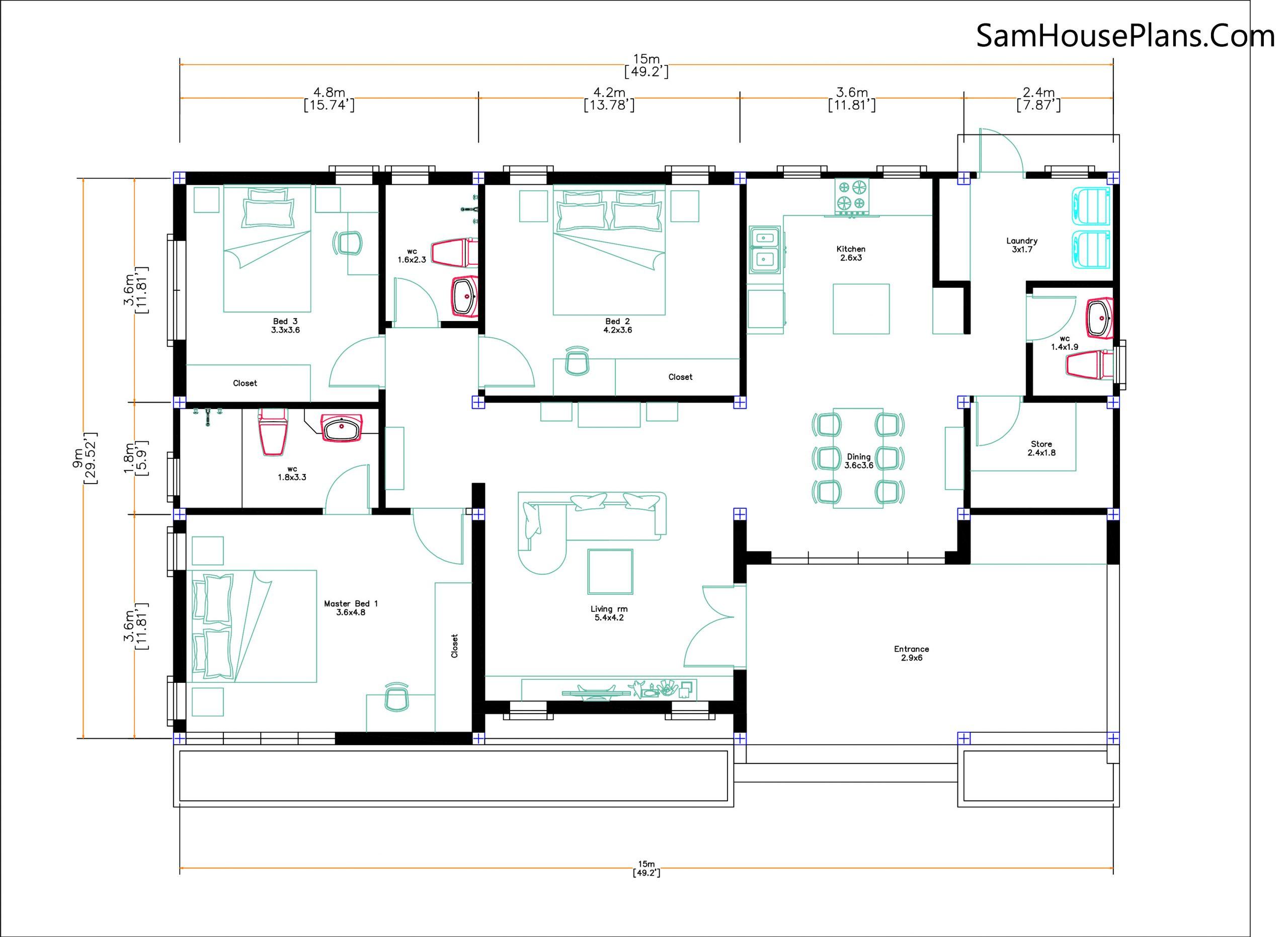Layout floor plan Modern House Design 15x9 M 49x30 Feet 3 Beds PDF Plan 3d