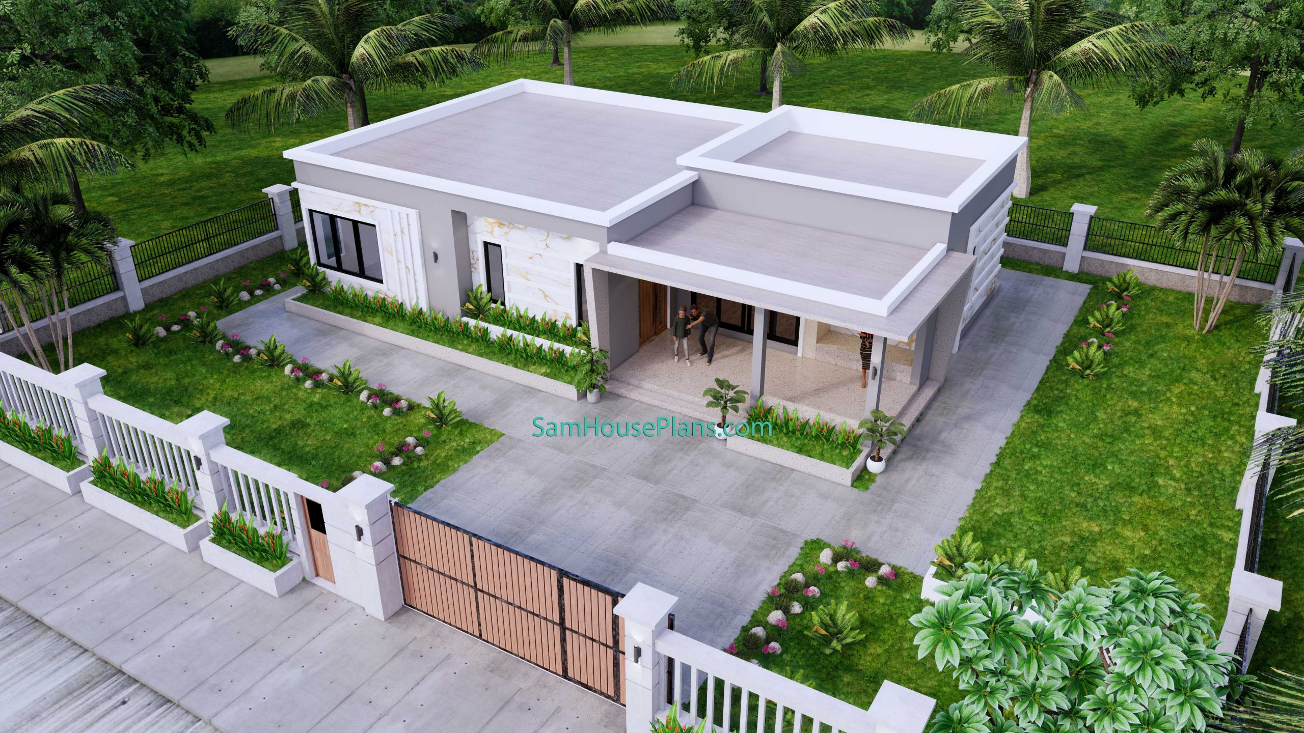 Modern House Design 15x9 M 49x30 Feet 3 Beds PDF Plan top 3d view 1
