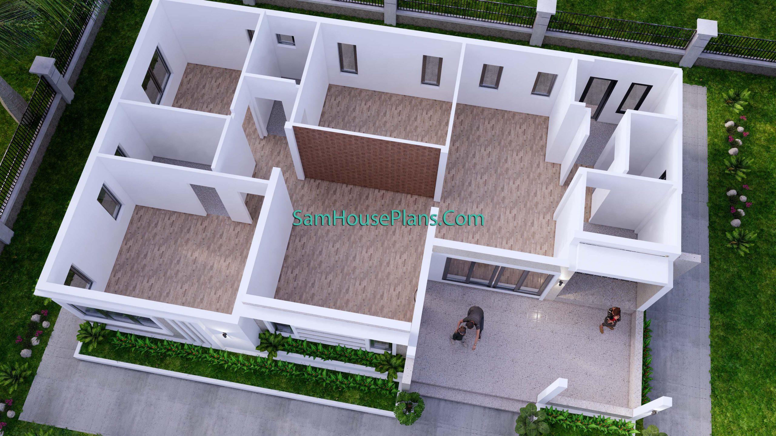 Modern House Plan 15x9 M 49x30 Feet 3 Beds PDF Plan 3d Floor 3d