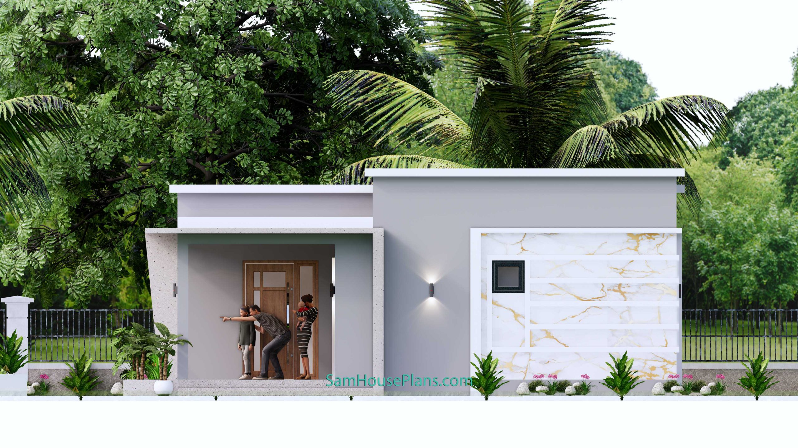 Right elevation Modern House Design 15x9 M 49x30 Feet 3 Beds PDF Plan