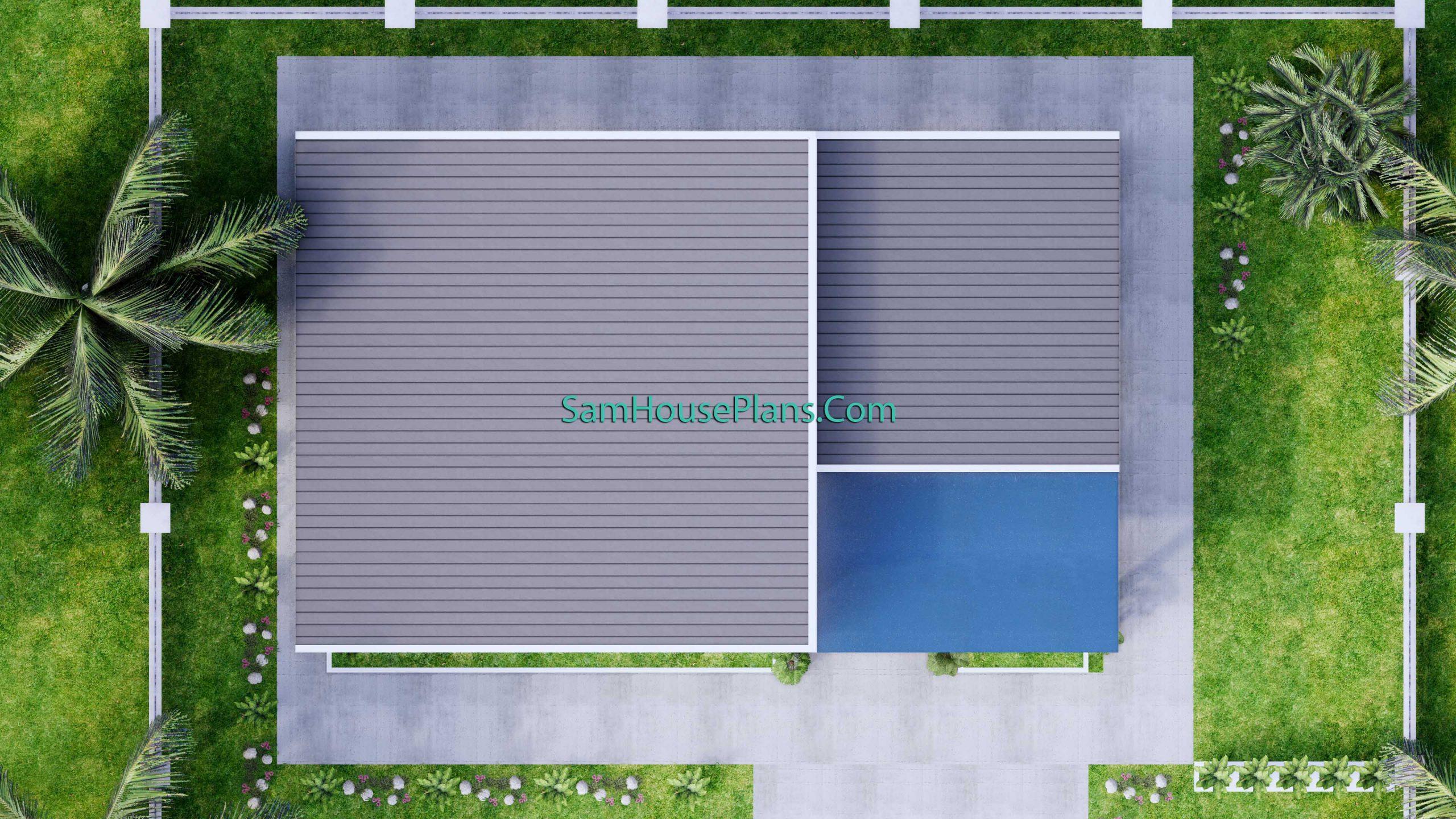 Top roof Modern House Plan 15x9 M 49x30 Feet 3 Beds PDF Plan