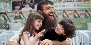Khader Adnan, with his children after his release.