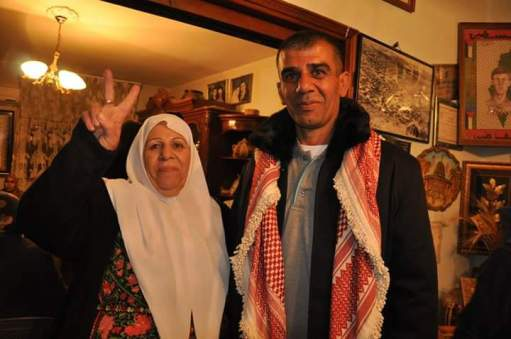 Nidal Abu Aker upon his release from Israeli prison in 2015; he was re-arrested eight months later.