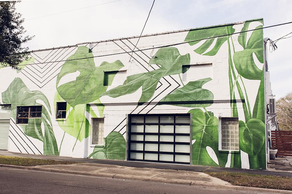 Cool spots for photos in Jacksonville | King Street Monstera Leaf Mural