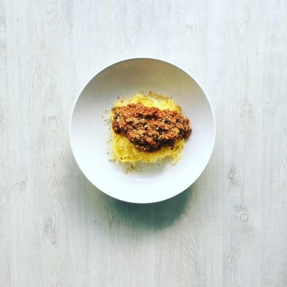 Paleo Spaghetti Squash and Meat Sauce