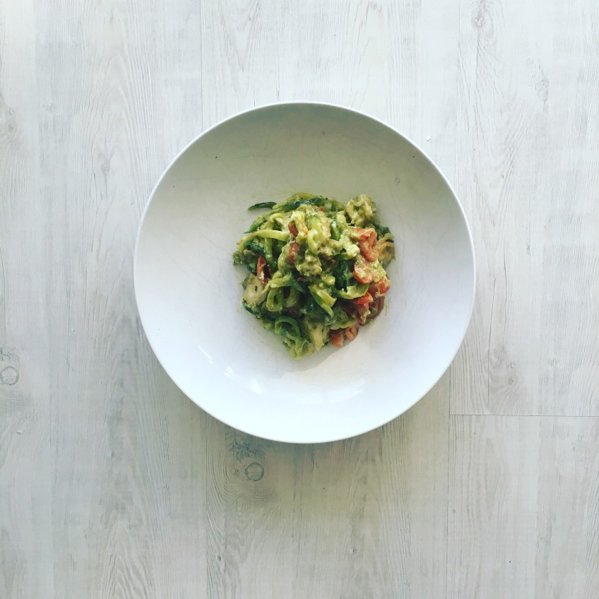 Zucchini Noodle Avocado Pesto Chicken