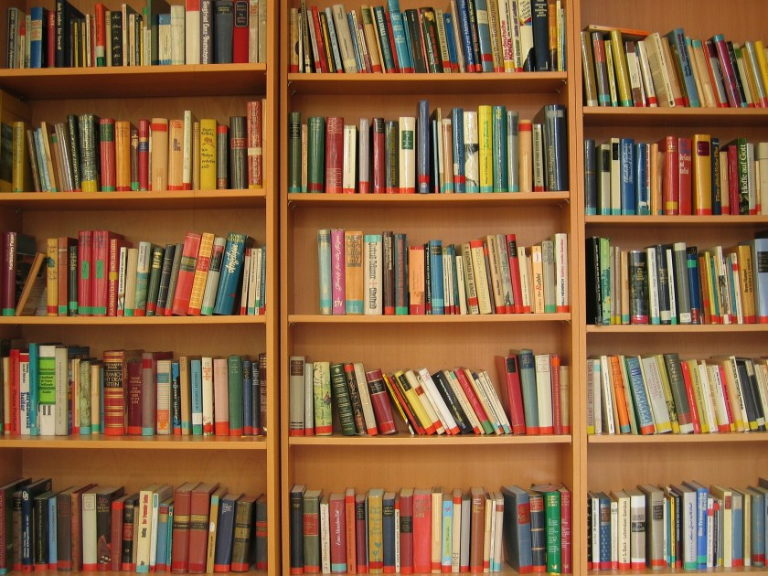 Image of a three wooden bookshelves full of books