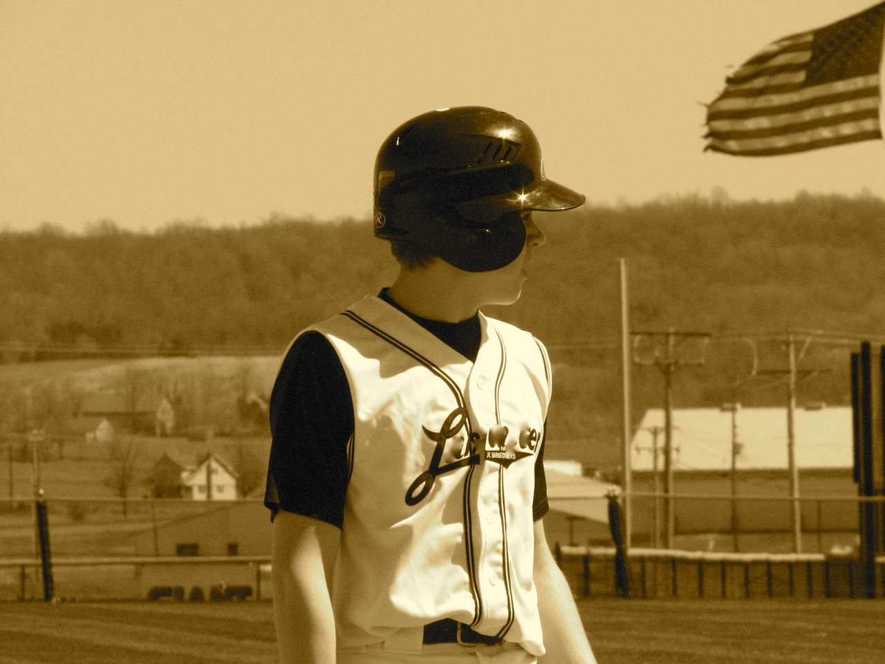 baseball and flag
